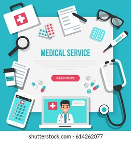 Online medical concept banner with text place. Vector medicine illustration.