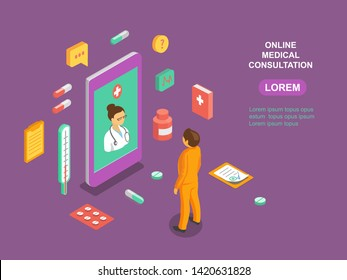 Online medical consultation app. Healthcare, diagnostics isometric concept with doctor and medical icons