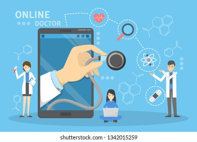 Online medical consultation concept. Idea of digital technology and smart medicine. Diagnostic through device. Remote treatment. Isolated vector illustration in cartoon style