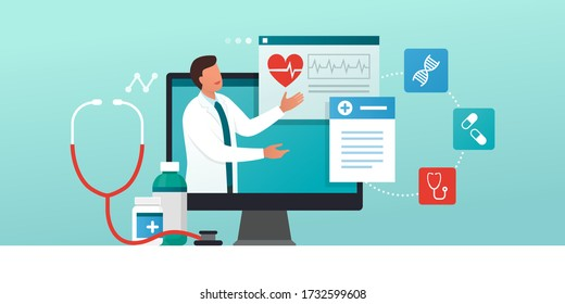 Online medical consultation and prescription medicine: professional doctor connecting and giving a consultation for a patient, telemedicine concept