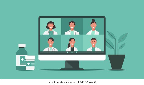 online medical consultation and support concept, healthcare services, group of doctors teleconferencing with stethoscope on computer screen, conference video call, new normal, flat vector illustration