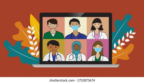 online medical consultation and support concept, healthcare services, group of doctors teleconferencing on computer screen, conference video call, new normal, flat vector illustration