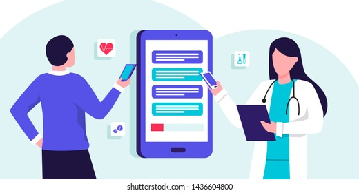 Online medical consultation and support. Healthcare services, Ask a doctor. Therapist in uniform with stethoscope, chatting with male patient via app messenger on mobilephone screen
