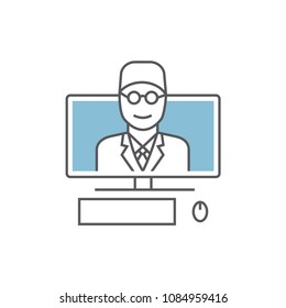 Online medical consultation and support line icon. Online doctor. Vector illustration