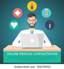 online medical consultation. treatment via internet doctor. vector illustration