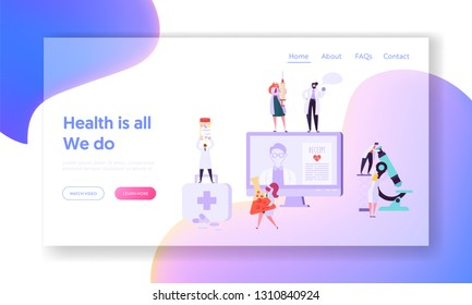 Online Medical Health Care Concept Landing Page. Digital Clinic Receipt for Patient. Hospital Doctor Character make Internet Consultation Website or Web Page. Flat Cartoon Vector Illustration