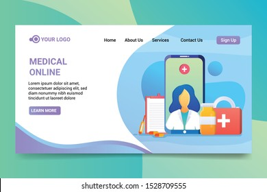 online medical illustrations. Web page design templates, collection of online medical support, medical schools and specialties, consultants. Modern vector illustration concepts for website and mobile