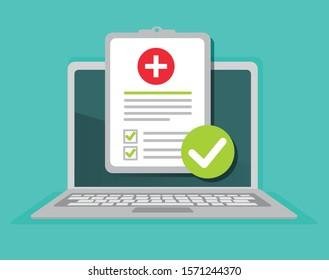 Online medical prescription, digital medicine test results with approved check mark form, vector illustration