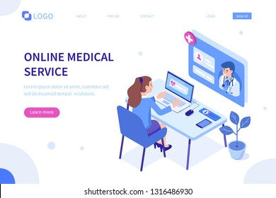 Online medical service concept. Can use for web banner, infographics, hero images. Flat isometric vector illustration isolated on white background.
