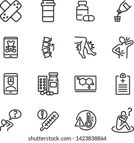 Online medical service line icon set. Drug, syrup, consulting pediatrician. Medicine concept. Can be used for topics like suffering from pain, treatment, cure, disease