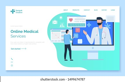 Online medical service, monitor of computer with portrait view of doctor, screen of cardiogram, diagnos of pacient, healthcare website vector. App slider or webpage template, landing page flat style