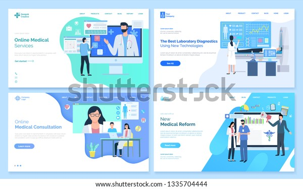 Online Medical Services Vector Best Laboratory Stock Vector (Royalty