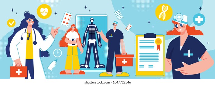 Online medicine composition with isolated pictogram icons phamaceutical drugs and characters of medical specialists in uniform vector illustration