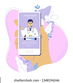 Online medicine concept with doctor and smartphone app. Patient holding smart phone with young physician on screen. Medical consultation and diagnosis.
