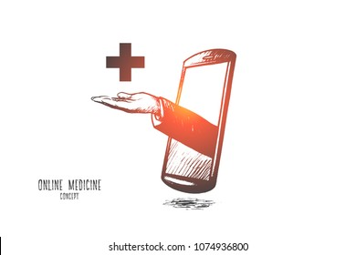 Online medicine concept. Hand drawn doctor's hand in mobile phone. Medical consultation via smartphone isolated vector illustration.