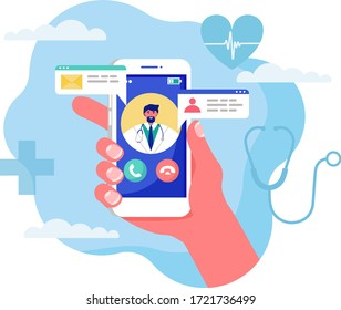 Online medicine concept vector illustration. Cartoon flat human hand holding smartphone with video call to doctor character on screen, using mobile advise or consultation service app isolated on white