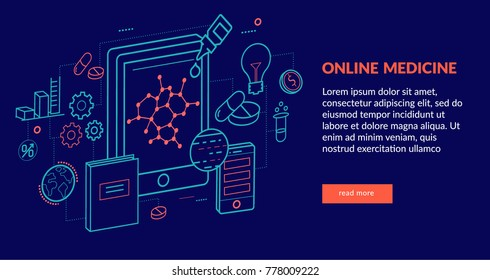 Online Medicine Concept for web page, banner, presentation. Vector illustration