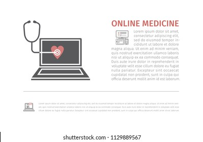 Online medicine icon. Laptop with Phonendoscope. Vector signs for web graphics