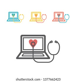 Online medicine line icon. Laptop with Phonendoscope. Vector signs for web graphics