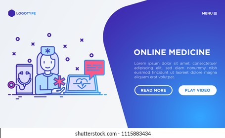 Online medicine, telemedicine concept: doctor gives consultation in chat, mobile app on smartphone. Modern vector illustration, web page template.