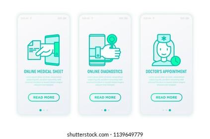 Online medicine, telemedicine thin line icons: online medical sheet, diagnostics, doctor's appointment. Modern vector illustration for user mobile app.