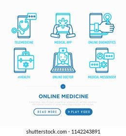 Online medicine, telemedicine thin line icons set: ambulance online, tracker, mHealth, messenger, check symptomps. Modern vector illustration.