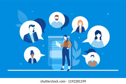 Online meeting - flat design style colorful illustration on blue background. A young female worker with a smartphone chatting with her colleagues, partners. Perfect for your website and mobile apps