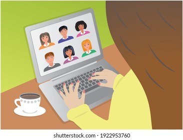 Online meeting. Girl with laptop and coffe cup. Vector illustration.