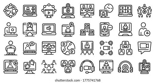 Symbole für Online-Meetings werden gesetzt. Rahmenset für Online-Meetingvektorsymbole für Webdesign einzeln auf weißem Hintergrund