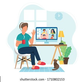 Online meeting via group call. Man talking to friends in video conference. Vector illustration in flat style