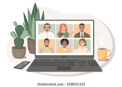 Online meeting via video conference. Group of people talking by internet, web chatting. Stay home safe, quarantine concept. Vector illustration in flat style.