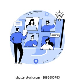Online meetup abstract concept vector illustration. Conference call, join meetup group, video call online service, distance communication, informal meeting, members networking abstract metaphor.