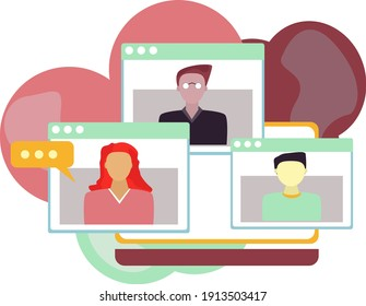 Online meetup abstract concept vector illustration. conference call, join meetup group, video call online service, informal meeting, distance communication, sosial distance.