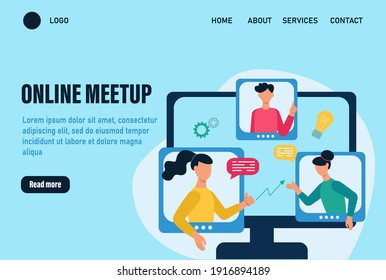 Online meetup landing page vector template. Concept of an online meeting, communication. People discuss work issues and ideas online. Team work online.  Flat cartoon vector illustration