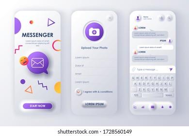 Online messenger unique neumorphic design kit for app neumorphism style. Social network screens with user profile. Mobile messenger UI, UX template set. GUI for responsive mobile application.