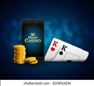 Online mobile casino app. Poker gambling app. Casino vector game background with cards and phone.