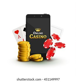 Online mobile casino background. Poker app online concept. Smart phone with chips, cards and coins.