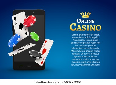 Online mobile casino background. Poker app online. Smart phone with chips, cards.