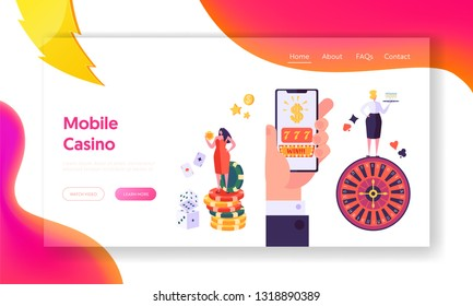 Online Mobile Casino Gambling Concept Landing Page. Female Win Fortune Game. People Play Roulette or Blackjack Lucky Concept Website or Web Page. Flat Cartoon Vector Illustration