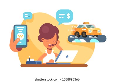 Online mobile city taxi transportation vector illustration. Hand holding phone with application call taxicab flat style concept. Dispatcher taking order on cab
