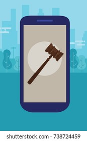 online mobile legal advice consultation smart phone law wooden hammer gavel justice legal vector