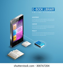 Online mobile library modern isometric concept. Books icons in smart phone tablet. One book selected. Plenty of mobile educational literature in device.
