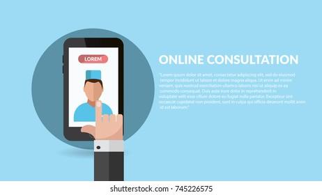 online mobile medic consultation flat banner vector eps 10