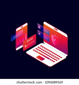 Online mobile payment 3d isometric vector illustration design. Online money transfer, m-banking, e-banking, secure financial transaction, internet money transfer design for web banners and apps