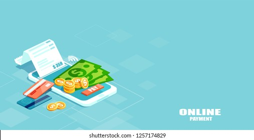 Online mobile payment concept. Vector of electronic bill, sms notification, pay history, finance data protection, smartphone with credit card.