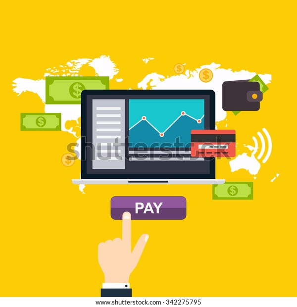 Online and mobile payments concept. Human hand finger pressing pay button on a  laptop with running payment app. Vector illustration.