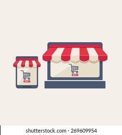Online mobile store or shopping concept with two icons on a mobile phone and tablet of a shopping cart and buy button under striped red and white canopies, vector illustration