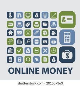 online money, payment, credit, card, pos terminal icons, signs, buttons set, vector