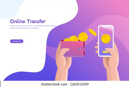 Online money transfer illustration vector illustration concept with hand holding smartphone and press send button , \ncan use for, landing page, template, ui, web, mobile app, poster, banner, flyer