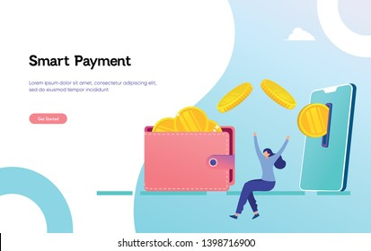 Online money transfer payment illustration vector illustration concept happy woman get money and reward by online can use for, landing page, template, ui, web, mobile app, poster, banner, flyer